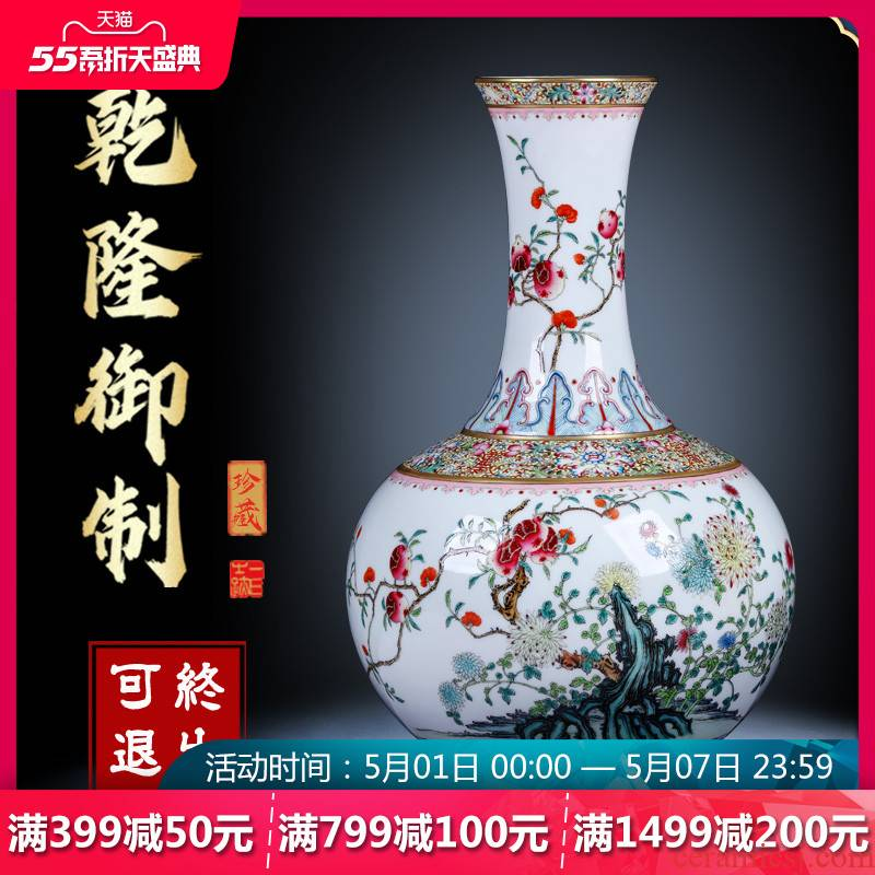 Night glass and fang jingdezhen ceramic vase hand - made antique porcelain enamel see three fruit bottles of Chinese style household decorations