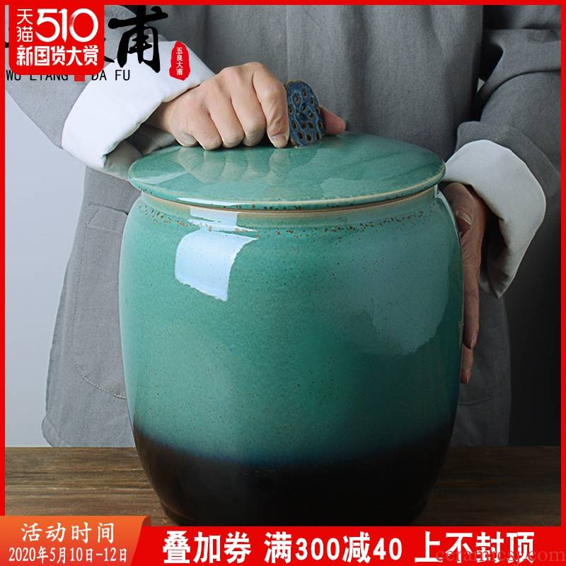 Jingdezhen ceramic barrel with cover home old 20 jins 30 box for rice flour barrels of insect - resistant seal storage tank