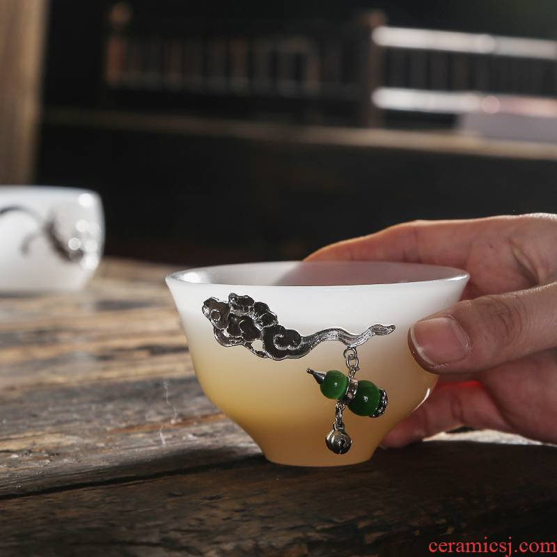 Jade porcelain household contracted with coppering. As silvery white Jade porcelain cup sample tea cup cup personal single CPU kung fu tea tea master