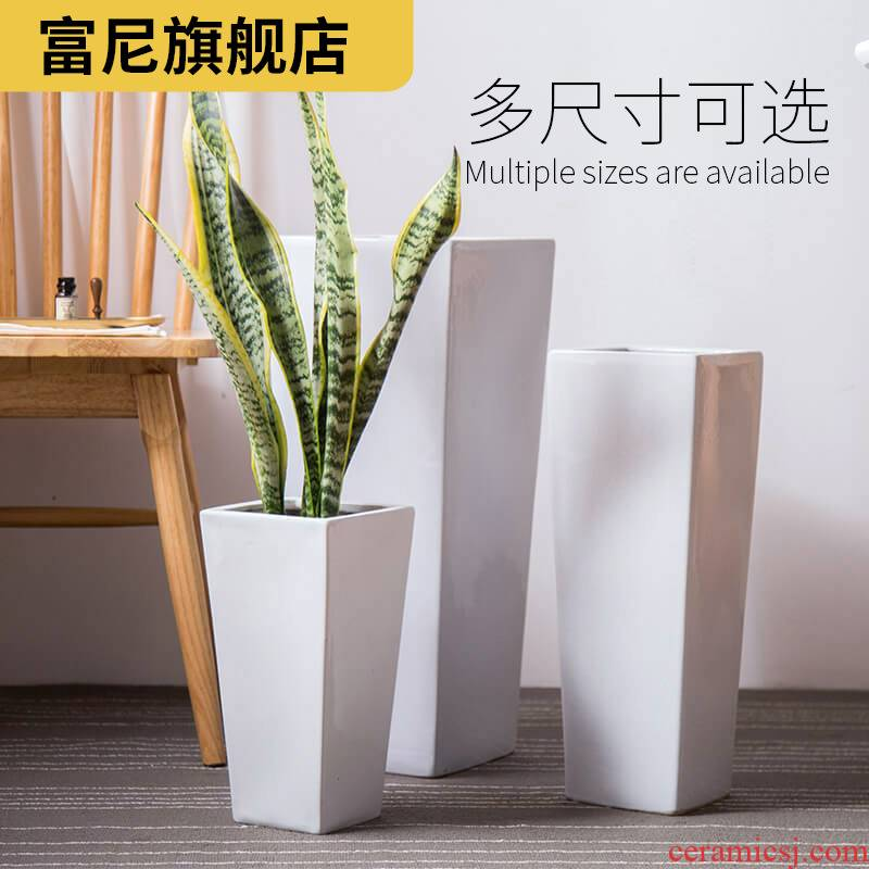 Rich, heavy ground large white flower pot Nordic high high contracted tiger orchid square ceramic flower POTS