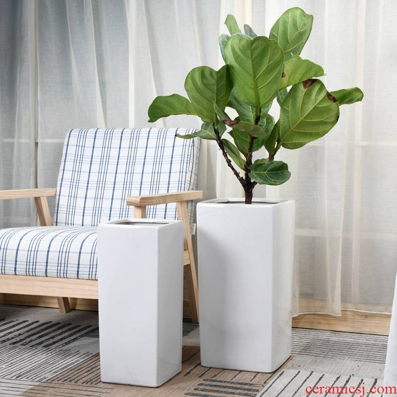 Square ceramic flower pot extra large wholesale villa living room balcony bamboo of curvature of the green plant white flower pot bag in the mail