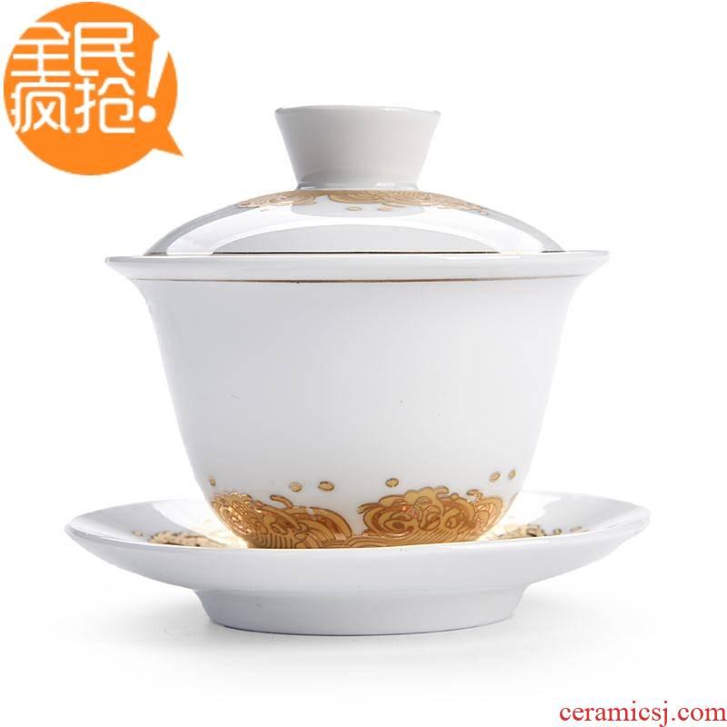 Hui shi tureen tea bowl three to jingdezhen blue and white porcelain tea set ceramic tea cup with cover white porcelain