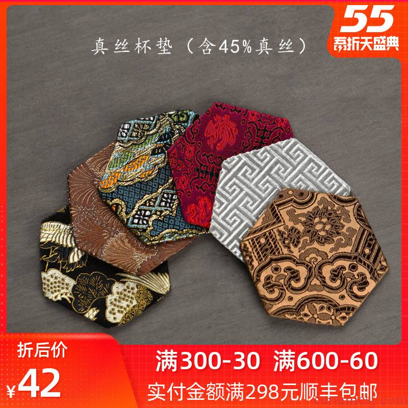 Bright product silk single manual cloth art suction cup mat saucer household Chinese jingdezhen kung fu tea accessories