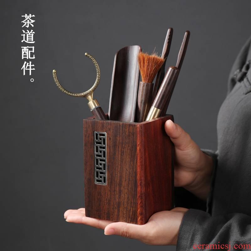 Tea tin, ebony Tea six gentleman 's suit cup the fork of a complete set of solid wood Tea art 6 gentleman kunfu Tea accessories furnishing articles