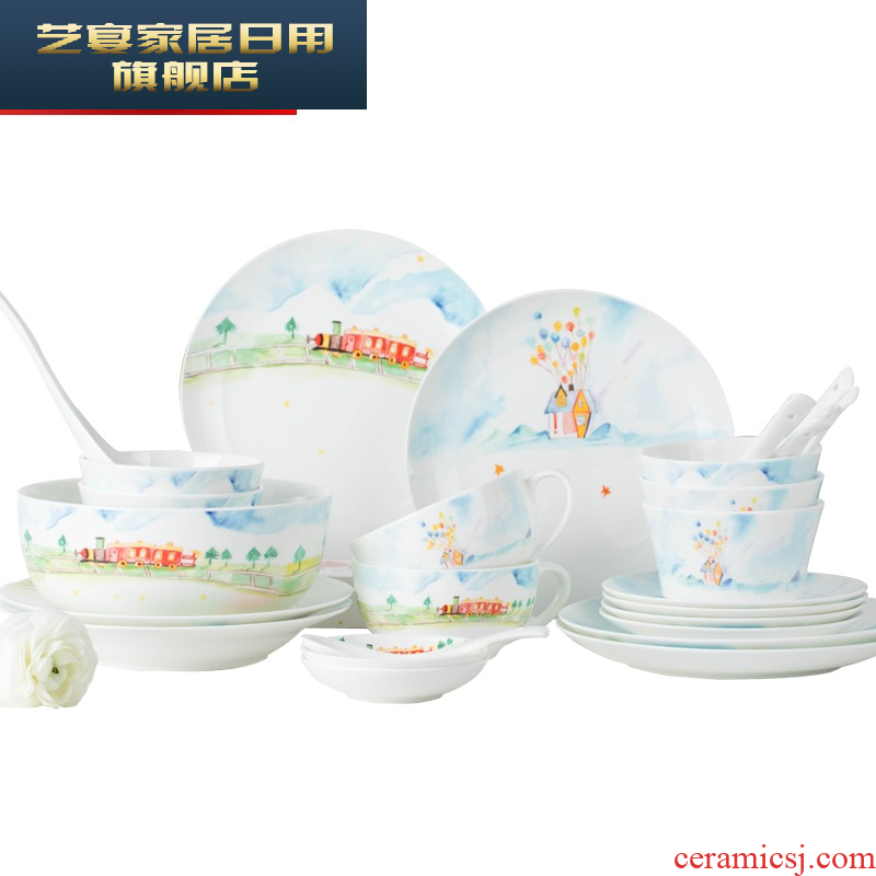 Dishes suit household creative restaurant tableware suit nice cartoon Dishes of jingdezhen ceramic dish bowl