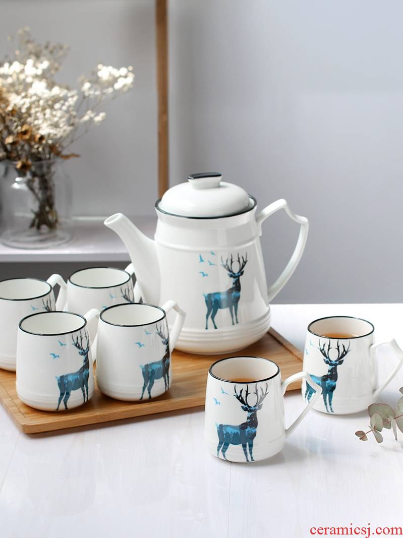Cup suit Nordic home sitting room tea drinking only water glass ceramic 6 cups of water with British tea kettle