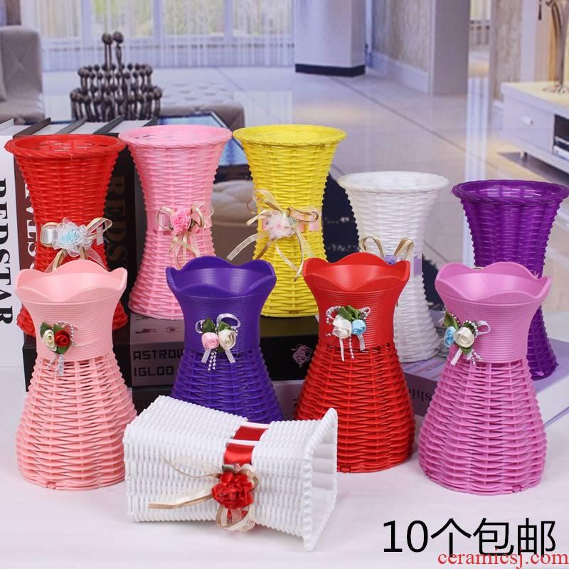 Flowers, artificial Flowers simulation plastic ceramic vase contracted see colour flower pot hand knitting basket flower baskets of silk Flowers, flower arranging barrels flower