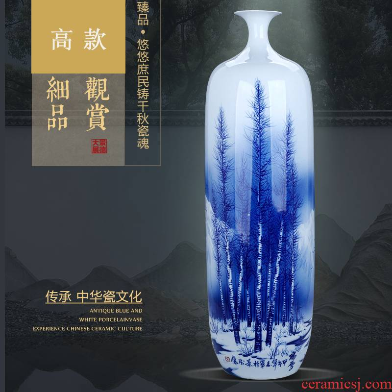 Jingdezhen ceramics thin blue and white porcelain vase large large sitting room adornment handicraft furnishing articles furnishing articles on the model