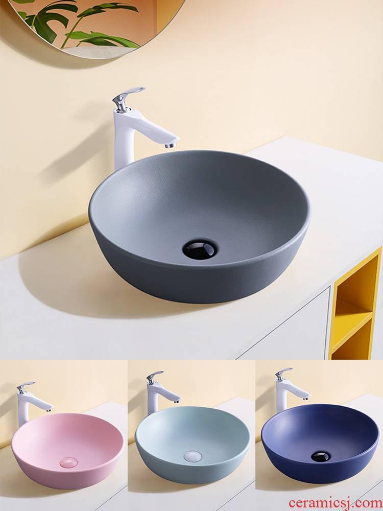 Nordic stage basin ceramic lavabo single household simple circular basin pool art basin bathroom sinks