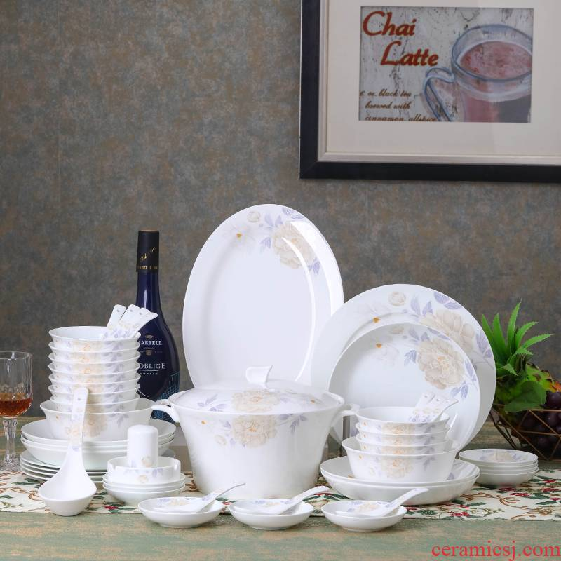 Jingdezhen ceramic bowl combination suit household Korean ipads porcelain tableware individuality creative dishes dish bowl chopsticks