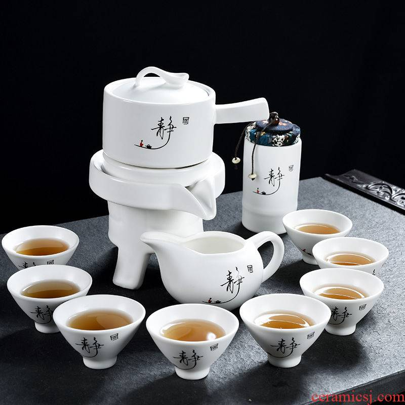 Purple sand pottery and porcelain kung fu tea set domestic cup ice crack glaze small office solid wood tea tray was the draw - out type tea table