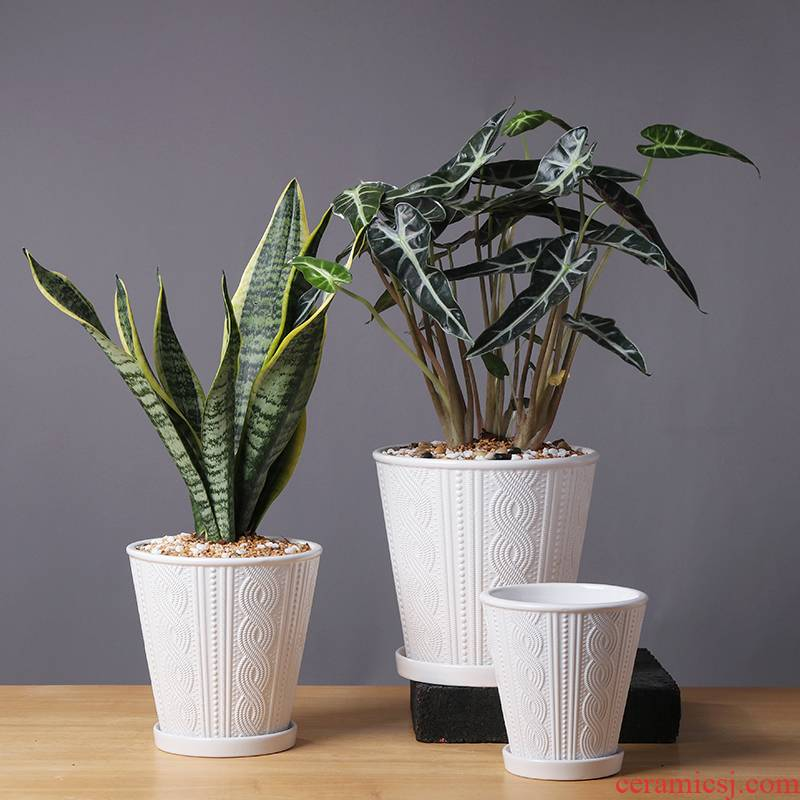 Nordic contracted flowerpot ceramic large clearance of creative move more than other meat home orchid flower POTS with pallets