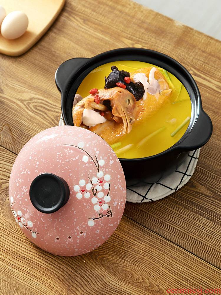 T take a ceramic stew soup bowl with cover small household high - temperature bird 's nest soup pot stew pot stew sand in clay pot soup