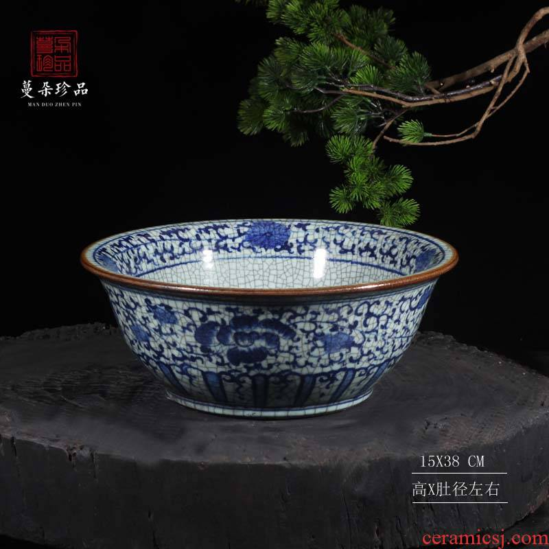 Archaize classic blue and white porcelain bowl bowl aquarium of crack large bowl of classical high - grade flower pot