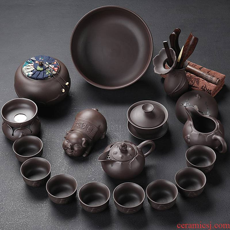 Purple sand tea set home office kung fu tea cup has contracted tea is tea tea taking of a complete set of accessories