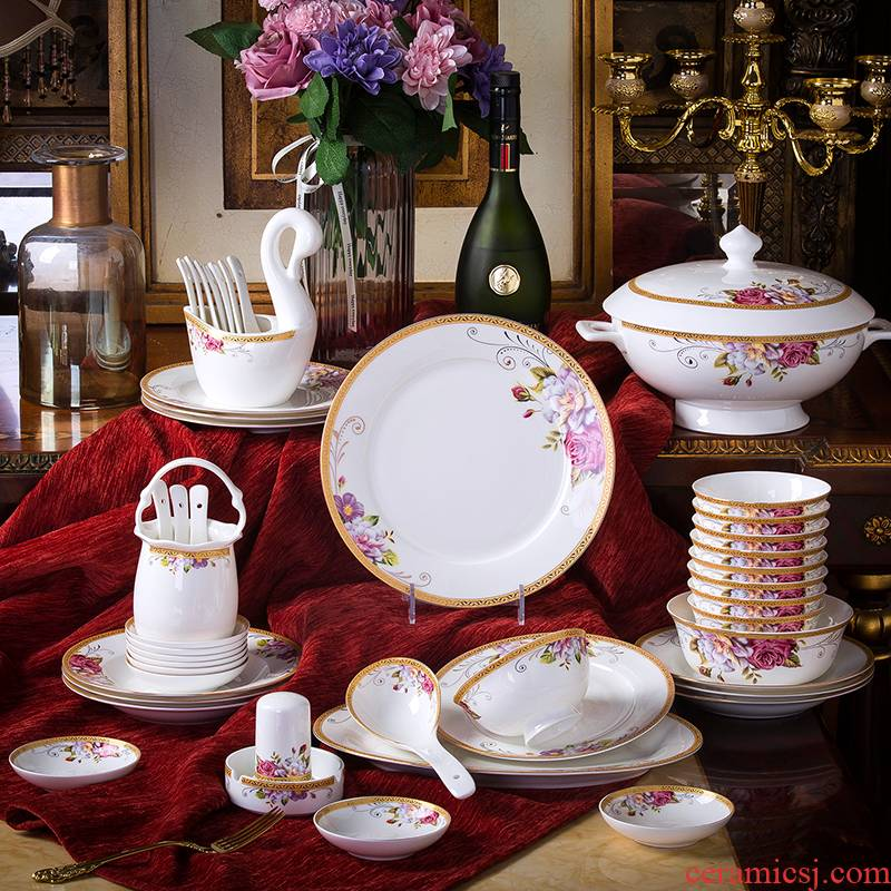 Treasure the dishes at the South Pole European household contracted ipads porcelain bowl chopsticks combination of Chinese style bowl outfit European dishes/