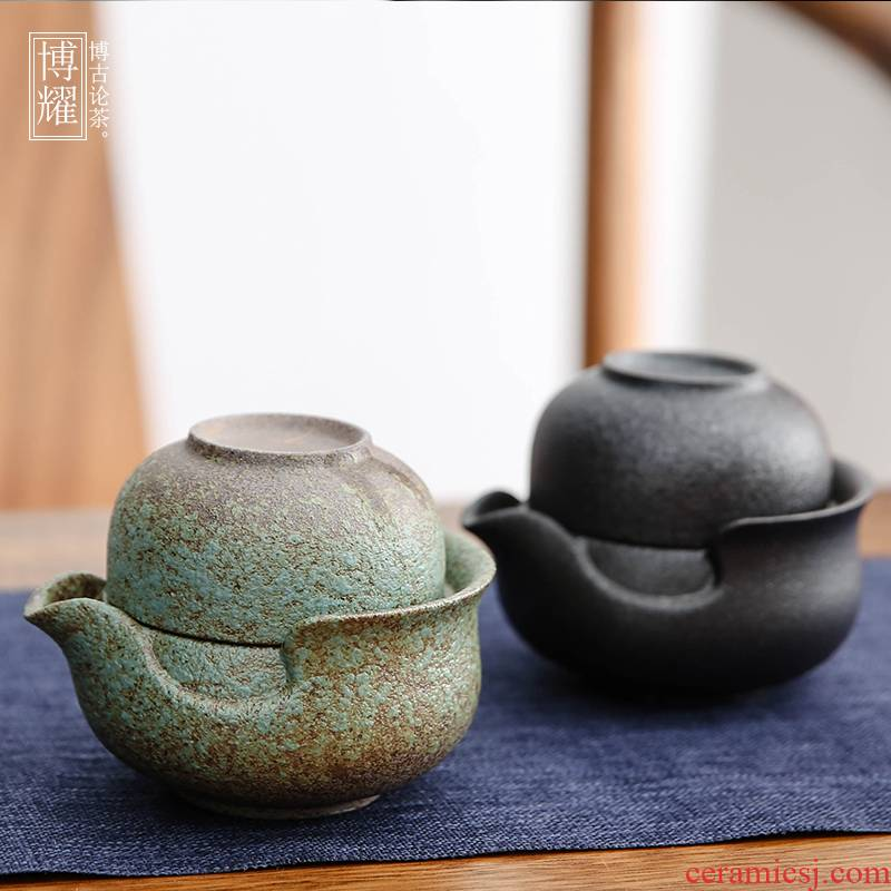 Bo yiu-chee contracted home office little kung fu tea set coarse pottery Japanese crack cup a pot of two single tea set