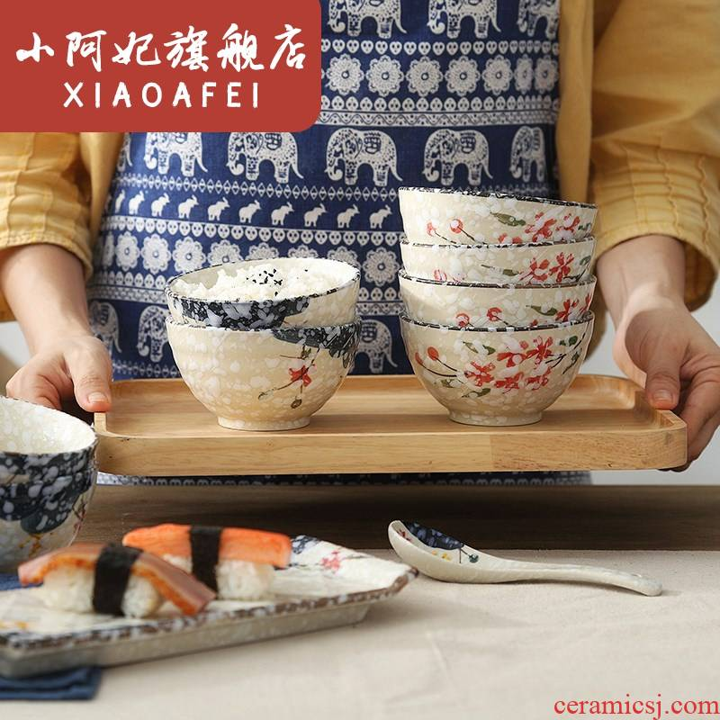 Use of household ceramic eating Japanese rice bowls retro individuality creative individual small Bowl of Korean thickening can microwave oven