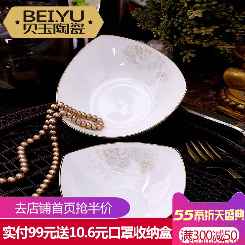 BeiYu European - style ipads porcelain triangle creative fruit salad bowl bowl bowl dessert bowls of rice bowls of household ceramics cereal bowl
