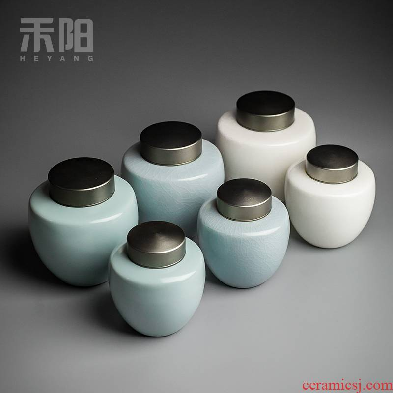 Send Yang aluminum cover caddy fixings ceramic large seal pot kung fu tea set small portable storage POTS with Japanese