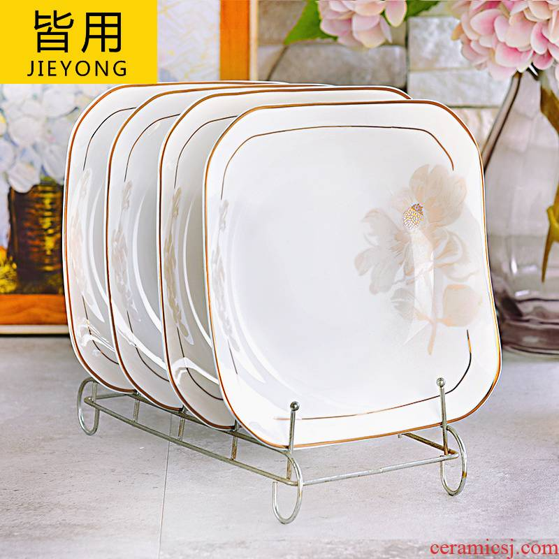 European household six square new ceramic plate plate suit creative move large - sized corners of square plate plate