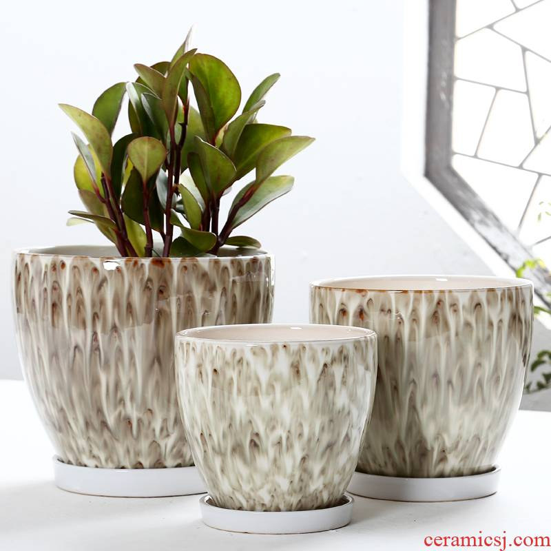 Flowerpot ceramic wholesale belt tray was extra large European home sitting room ventilation other rich tree planter bag in the mail
