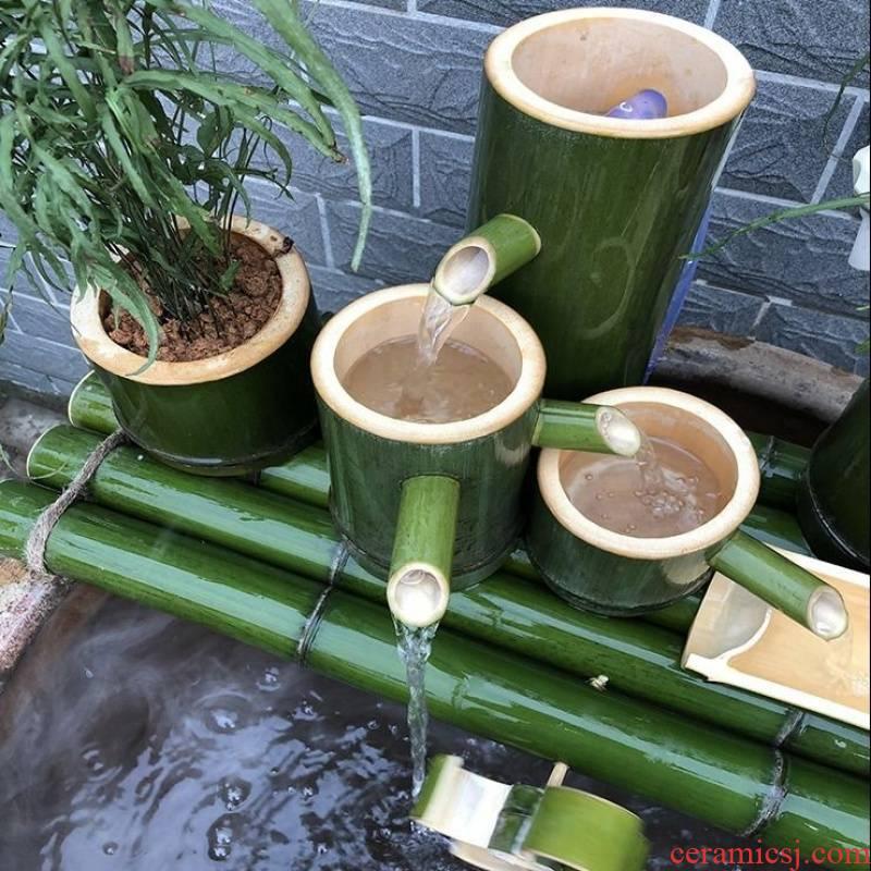 Bamboo ware ceramic aquarium water filter rockery stone runnel fish pond decorative furnishing articles Bamboo water circulation system