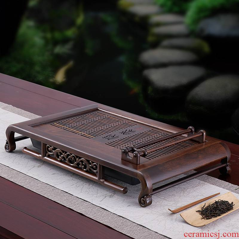 Han and tang dynasties tea tray was solid wood tea set home sitting room tea table, black rosewood logs small sea water tea saucer kung fu tea set