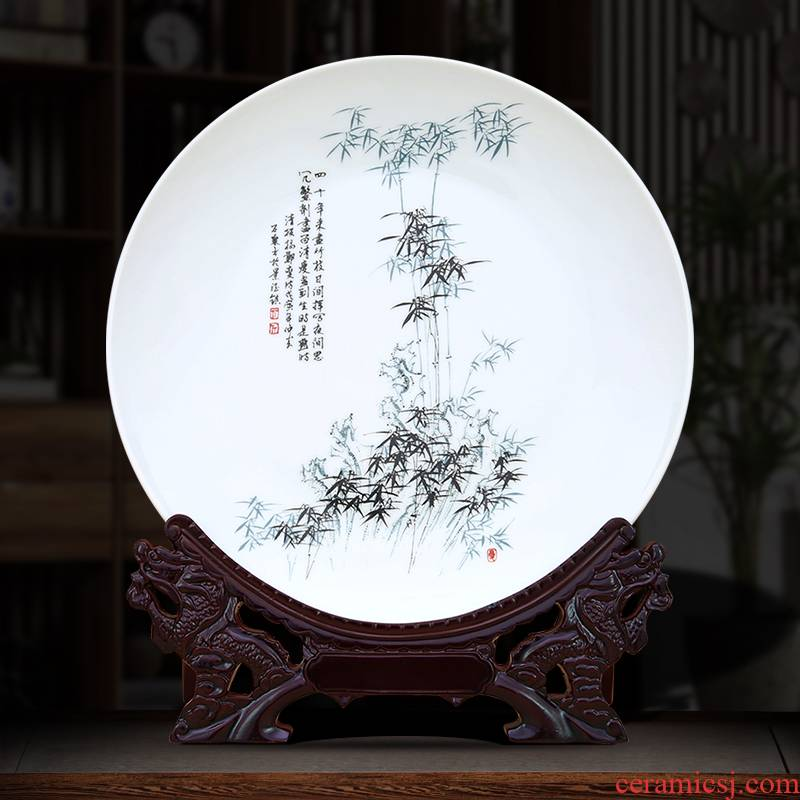 Jingdezhen ceramic plate is placed Chinese style household crafts wine ark, adornment of the sitting room porch swing plate of TV ark