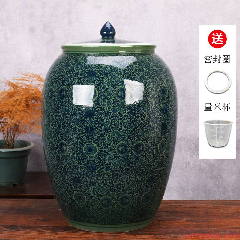Jingdezhen ceramic barrel storage bins moistureproof kitchen oil cylinder ricer box kg30 20 jins 50 kg sealed with cover tank