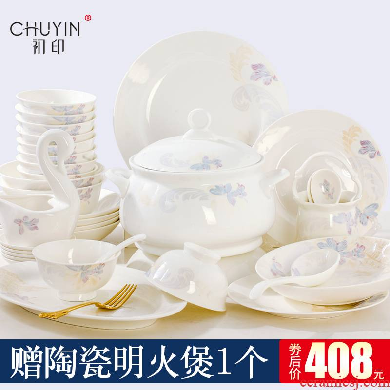 Jingdezhen ceramic bowl ipads porcelain tableware suit dishes European dishes suit household portfolio dish bowl sets