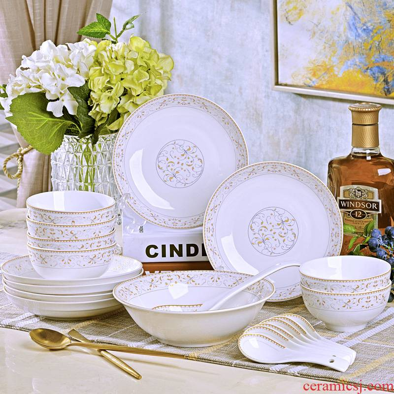 Dishes suit sun island home 20 head of jingdezhen ceramic tableware portfolio to eat noodles bowl chopsticks sets with a gift