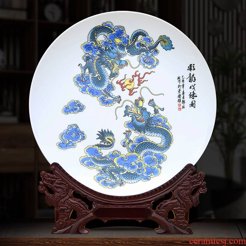 Dragon play pearl decoration plate to industry
