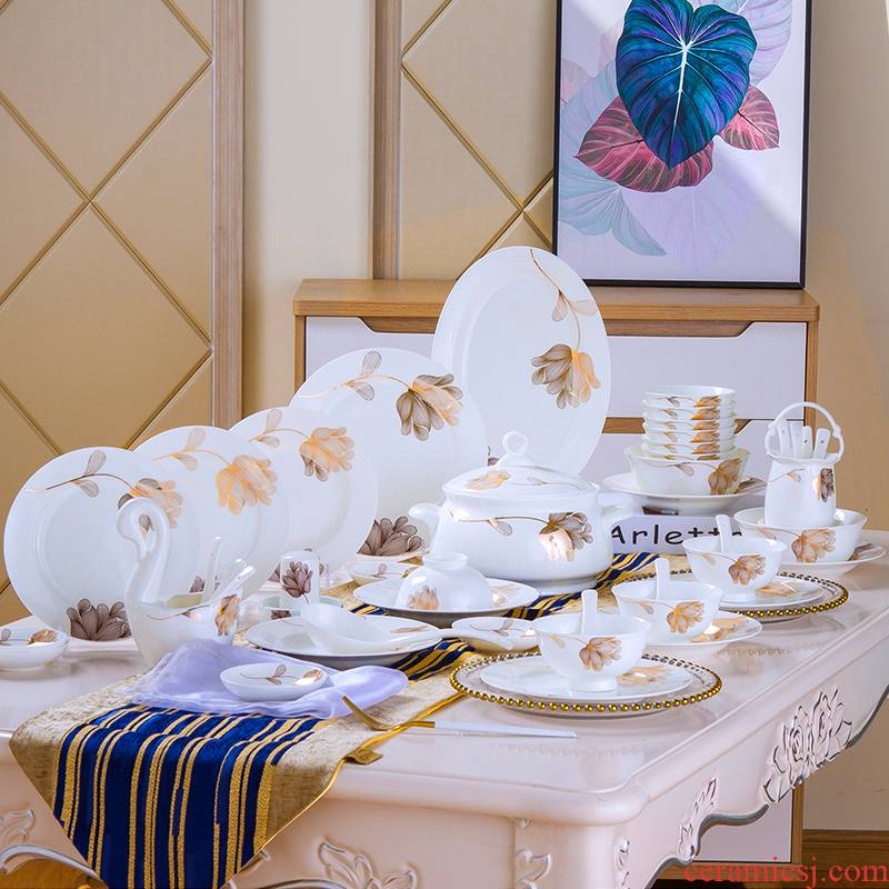 The Antarctic treasure dishes suit household ipads porcelain plate to use chopsticks, eat bowl of Europe type style combination/