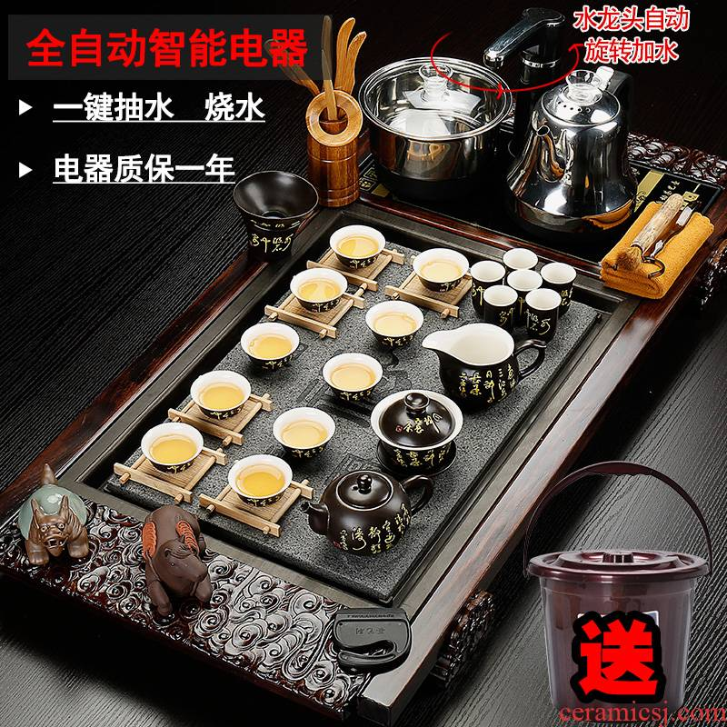 Back on tea set purple sand pottery and porcelain of a complete set of ice to crack kung fu tea set four unity electric magnetic furnace solid wood tea tray
