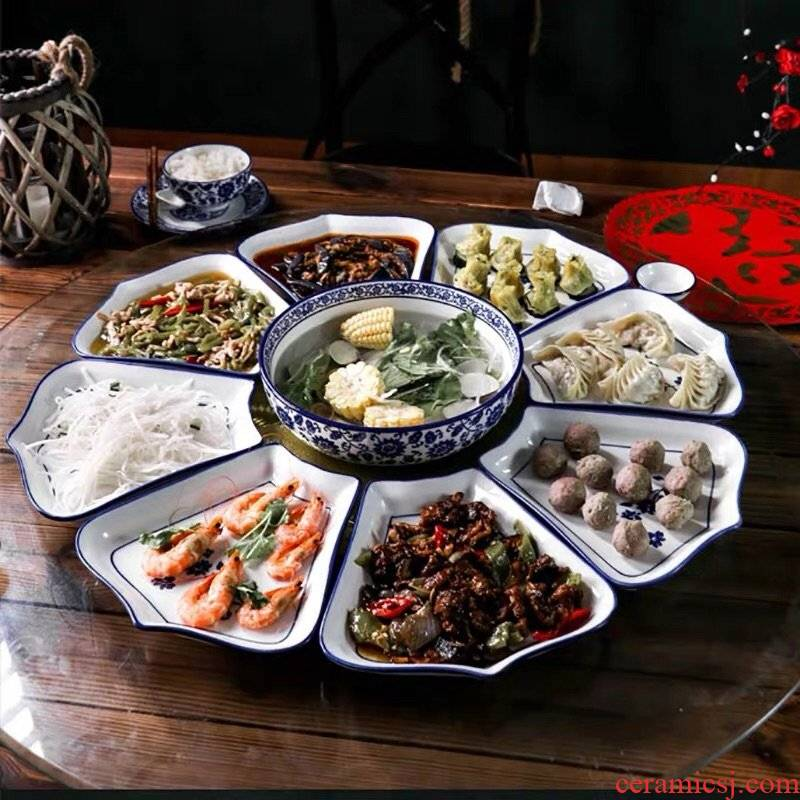 Seafood new hotel plate dish points set of circular plate reunion ceramic combination platter