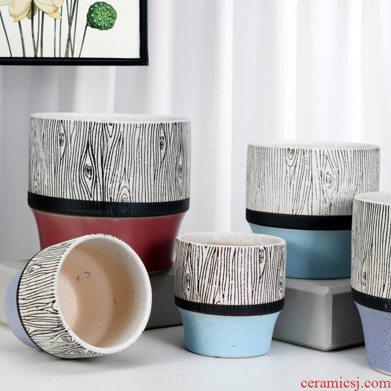 Contracted large ceramic flower pot a clearance sale wholesale home desktop more than other meat round flowerpot pack mail