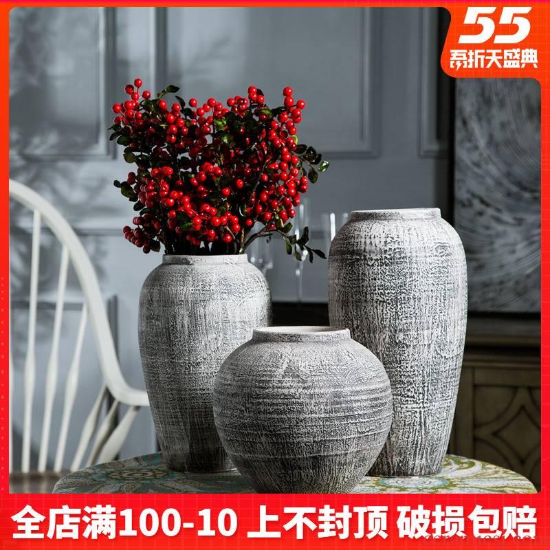 Jingdezhen desktop restoring ancient ways do old vase coarse some ceramic jar jar in the dried flower implement earthenware do old pot jars
