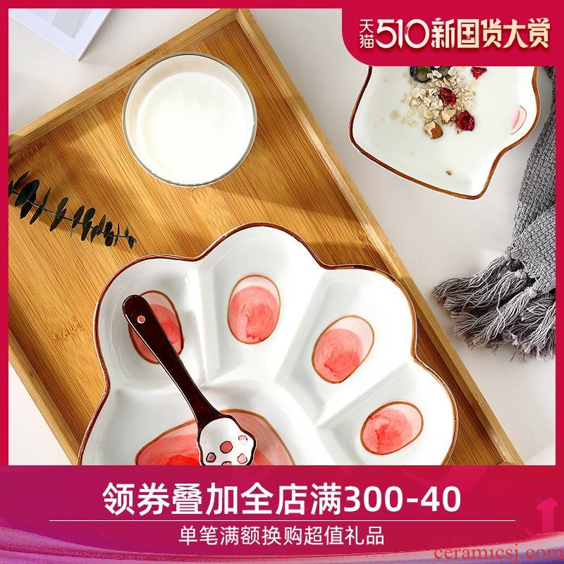 The dishes suit household ceramics dinning plate children 's creative cartoon Japanese compartment space plate one lovely tableware