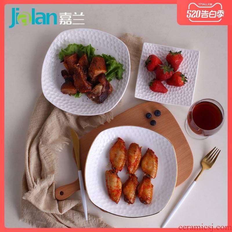 Garland ipads porcelain tableware square deep dish dish dish creative emboss household irregular western - style snack plate