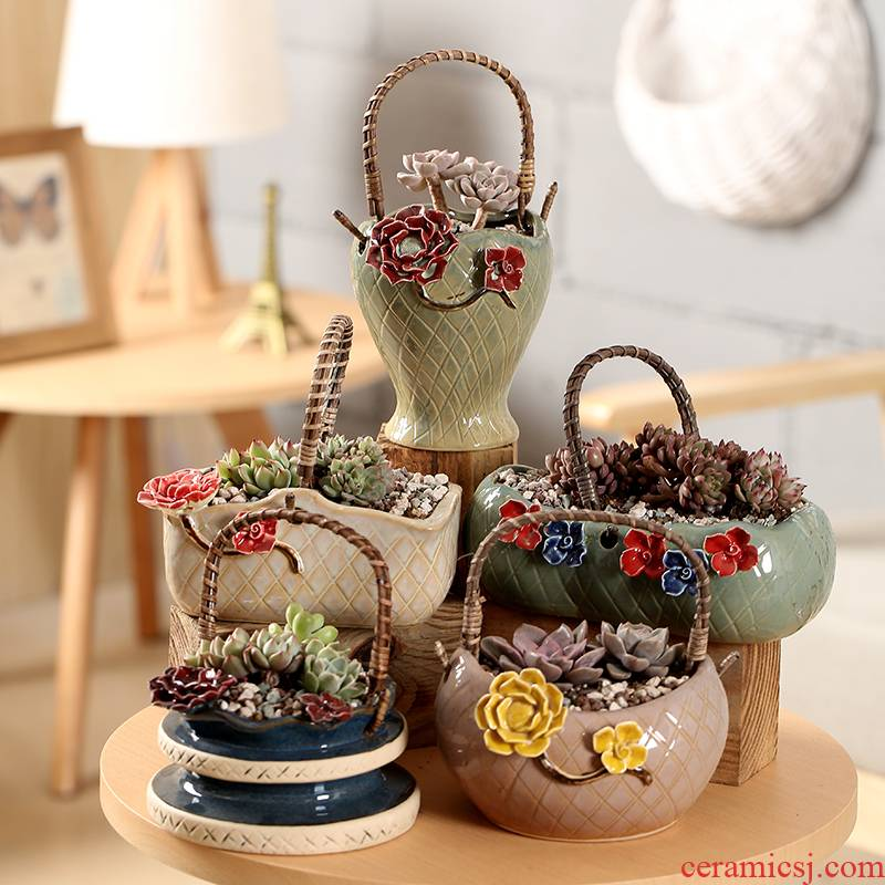 End more meat flowerpot ceramic Korean knead cost of large diameter combination platter flesh flowerpot flower basket basin is on sale