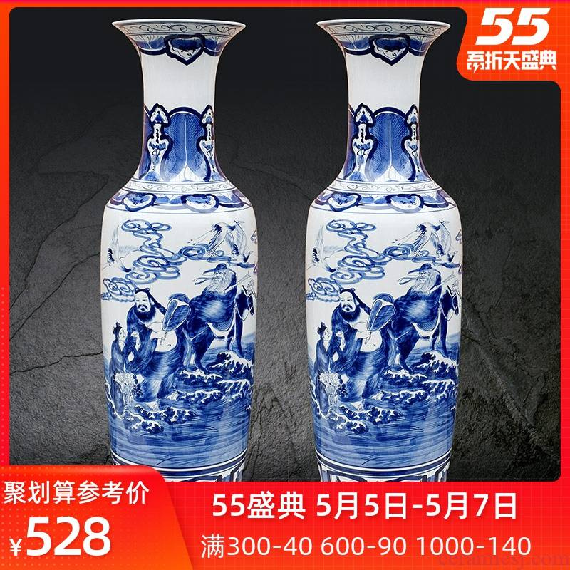 Jingdezhen ceramics hand - made the ensemble household furnishing articles of large sitting room of blue and white porcelain vase decoration