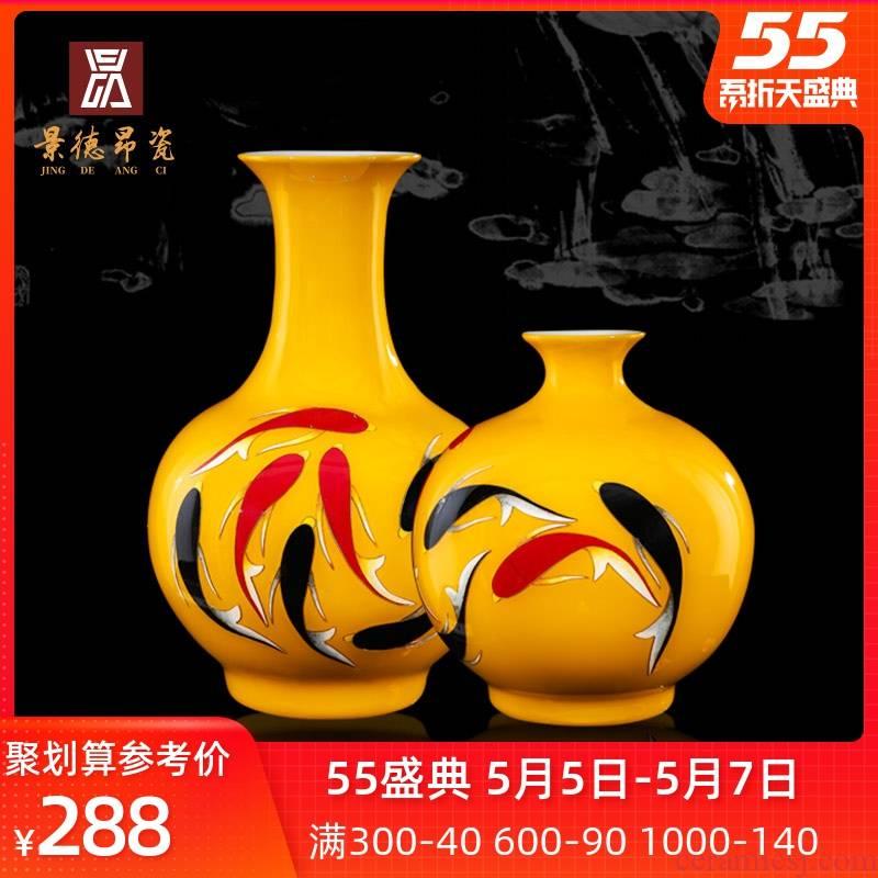 Jingdezhen ceramic paint fish le figure sitting room of large vase household desktop flower arranging porcelain decorative furnishing articles