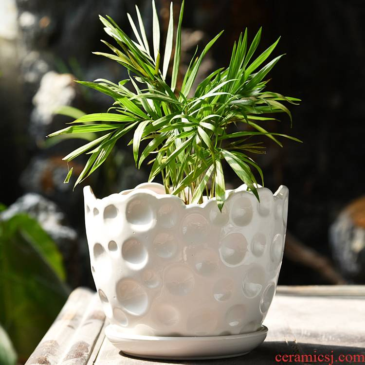 Flowerpot ceramic contracted white ribbon tray was money plant bracketplant Flowerpot more meat flower pot in large indoor household flower pot