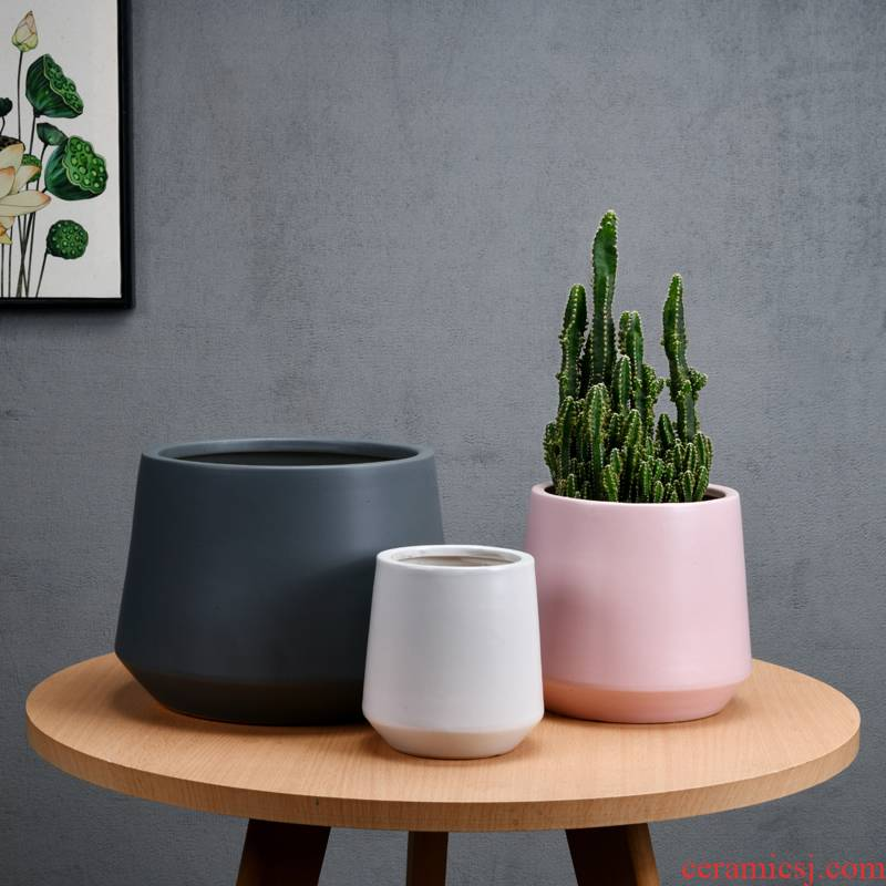 Geometric flowerpot ceramic oversized bag mail European contracted desktop money plant flower pot FaYa polychromatic light easy collocation