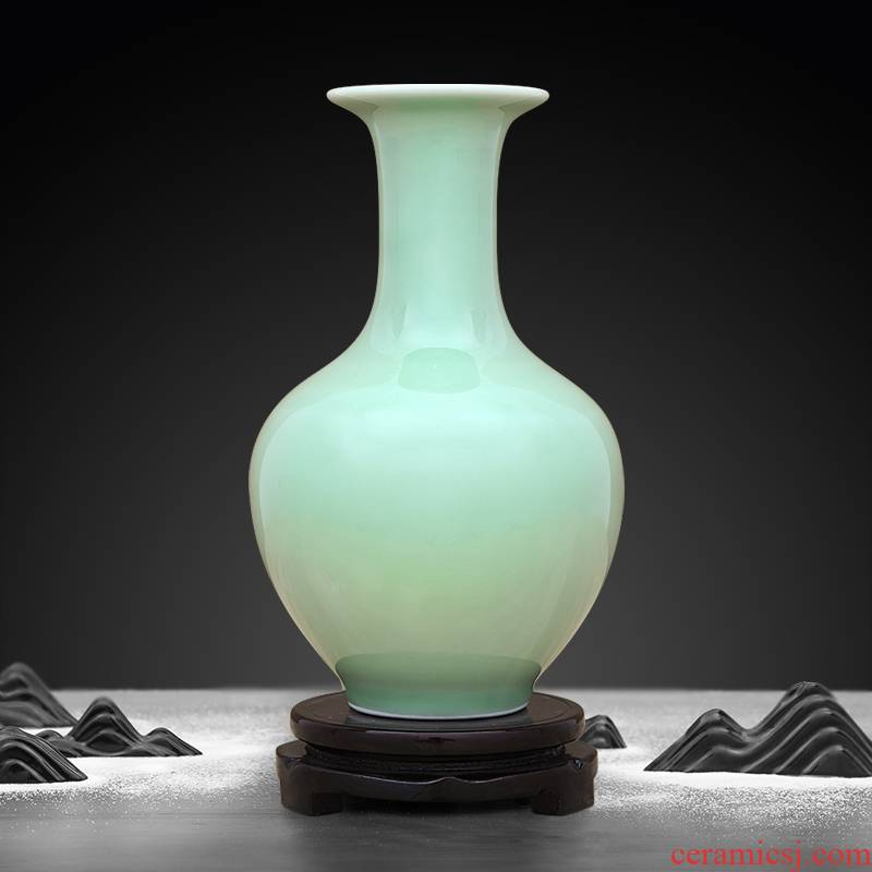 Jingdezhen ceramic vases, pea green shadow celadon glaze furnishing articles flower arranging, rich ancient frame curio cabinet cabinet sitting room adornment