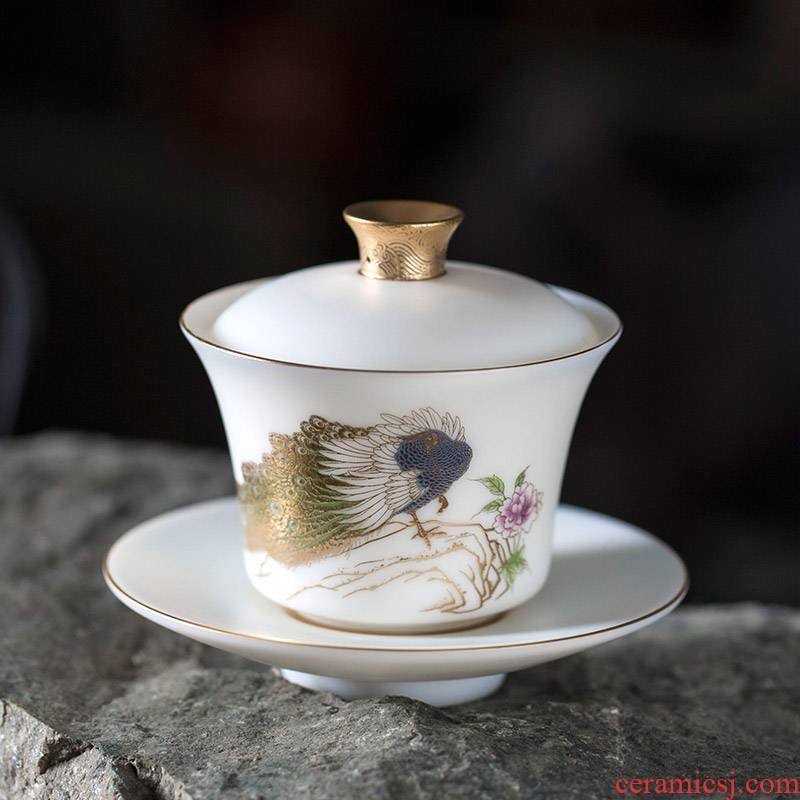 Morning high suet jade ceramic tureen white porcelain only three tureen to use household teapot size kung fu tea set