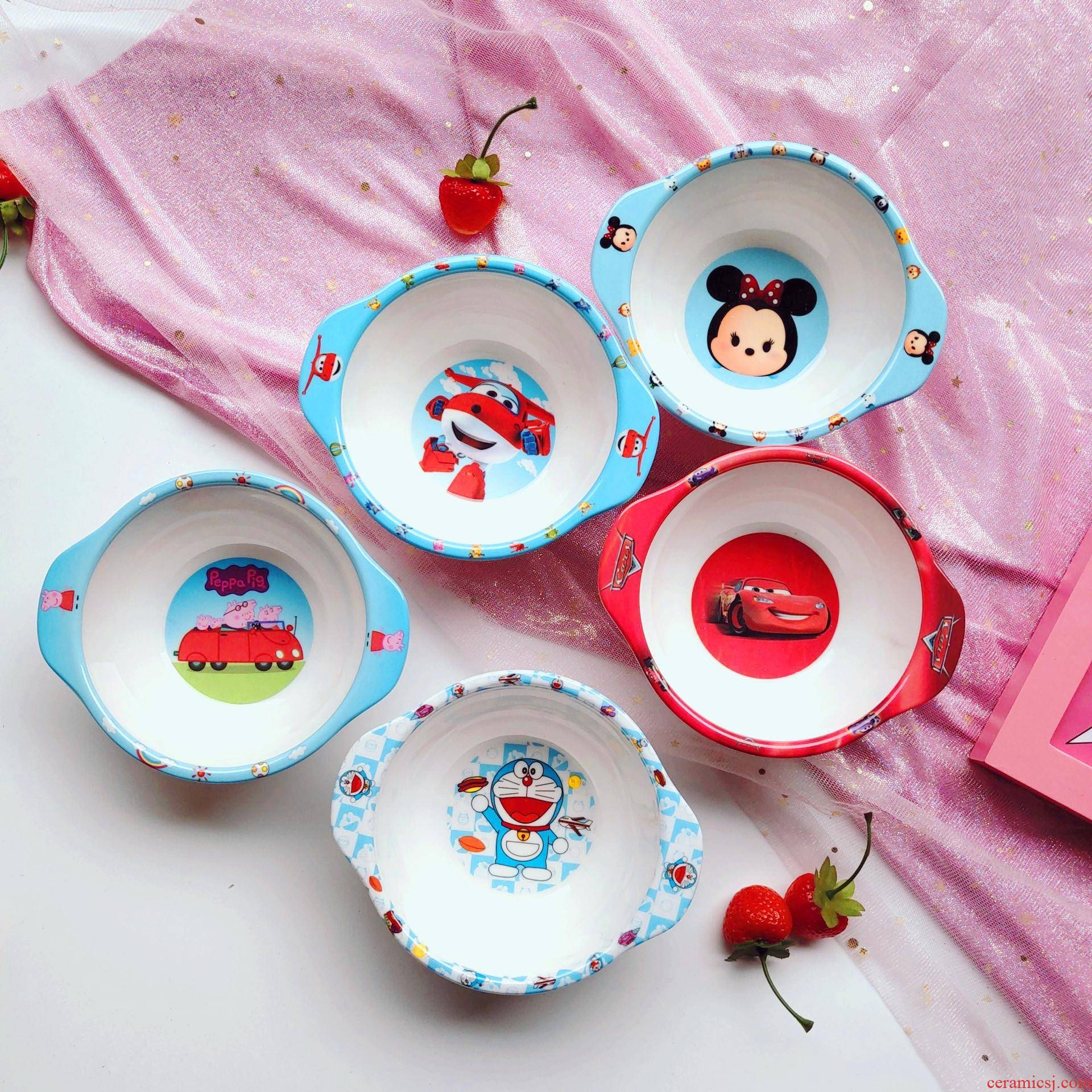 Express cartoon baby ears to use melamine porcelain - like infant park to eat children small bowl of suction cups drop hot dishes