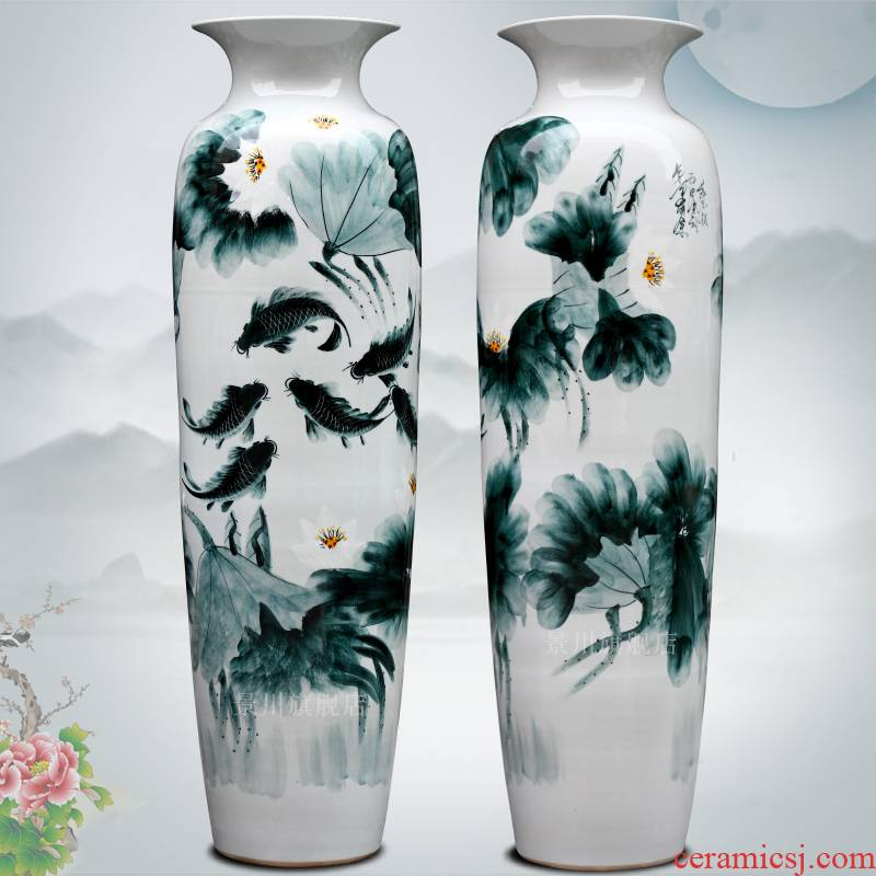 Blue and white porcelain jingdezhen ceramics hand - made lotus fish quiver of large vase home furnishing articles in the living room