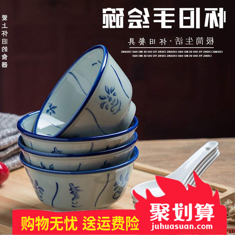 Hong Kong nostalgic ceramic bowl of rice bowls bamboo flowers hand cold bowl of soup bowl bowl kwai dou blue - and - white bowl of restoring ancient ways of the republic of China
